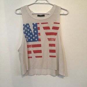 Niche Red/White/Blue Cropped Muscle Tank